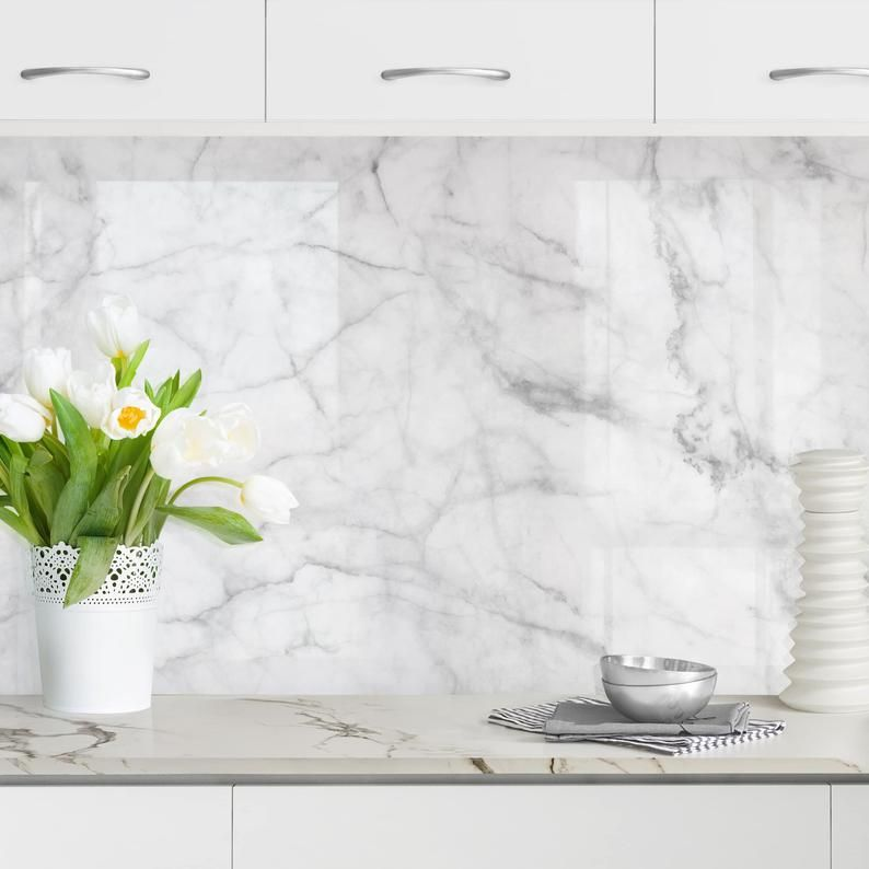 Self Adhesive Splashback Bianco Carrara Kitchen Decor Backsplash Design Decoration In 2021 Kitchen Decor Etsy Carrara Kitchen Splashback