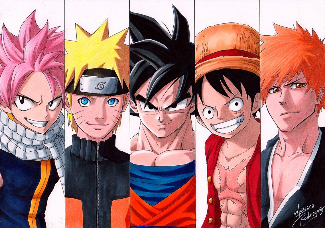 Natsu Naruto Goku Luffy Ichigo By Mayara Rodrigues Anime Fanart Brasil