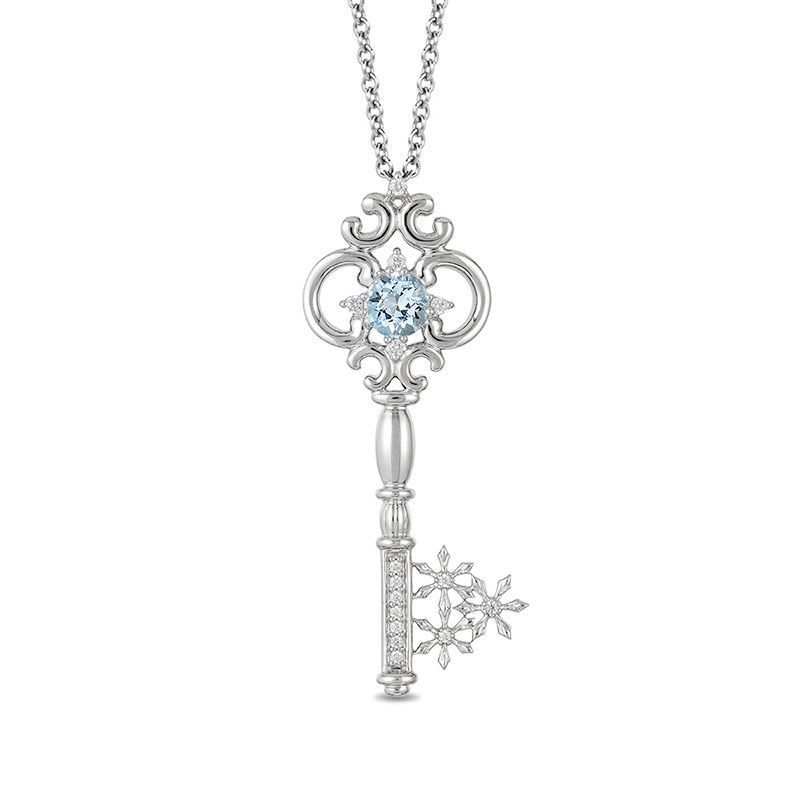 From the Enchanted Disney Collection inspired by Elsa, this gemstone and diamond key pendant adds elegance to her wardrobe. Crafted in shimmering sterling silver, this decorated design features a 5.0mm icy-blue aquamarine at the scrolling and diamond-touched bow, a sculpted and diamond-lined shaft, and a sparkling diamond snowflake-shaped bit. Radiant with 1/10 ct. t.w. of diamonds and a brilliant buffed luster, this cool pendant suspends along a 17.0-inch cable chain with 2.0-inch exten...