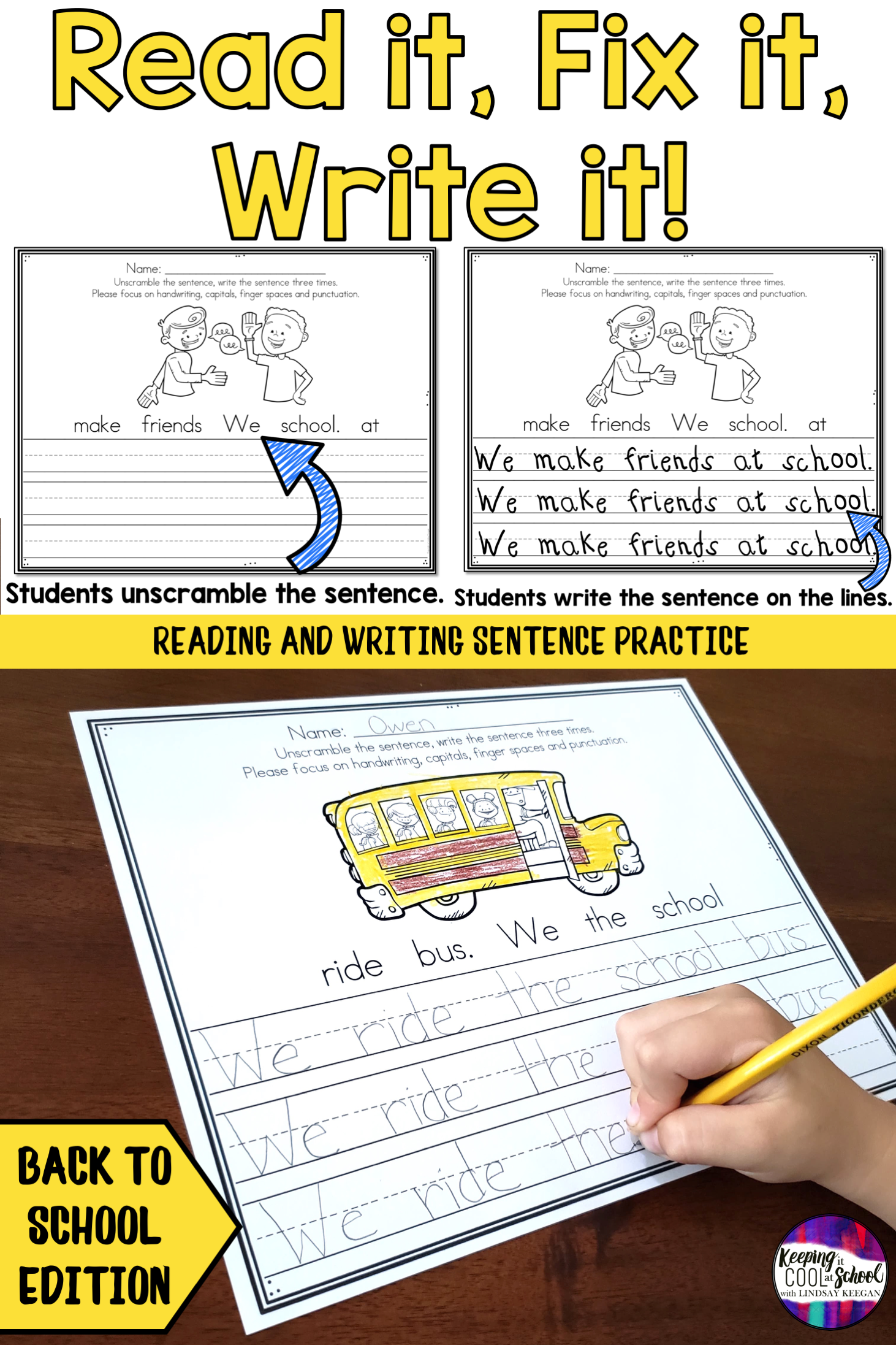 Back To School Sentence Writing Practice