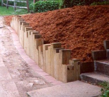 Landscape+Timber+Ideas | Retaining Walls U003e Timber Walls U003e Vertical Timbers