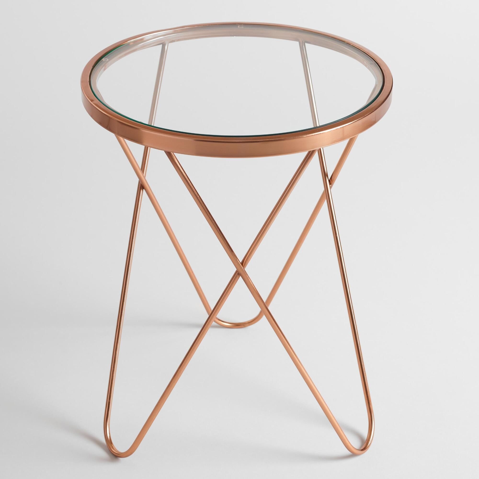 Round Glass Bedside Table With A Round Glass Top And A Rose Gold Metal Frame Our