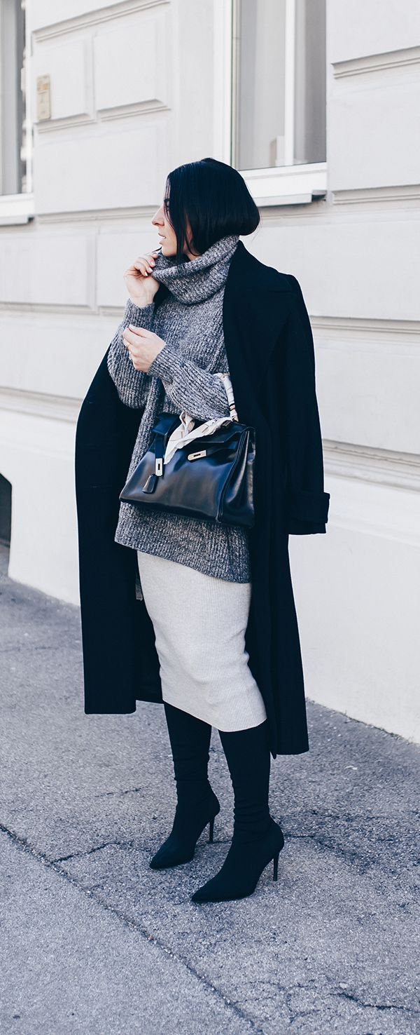 Brilliant Grauer Mantel Kombinieren Beste Wahl Grauen Rock Kombinieren, Winter Outfit Mit Rock,