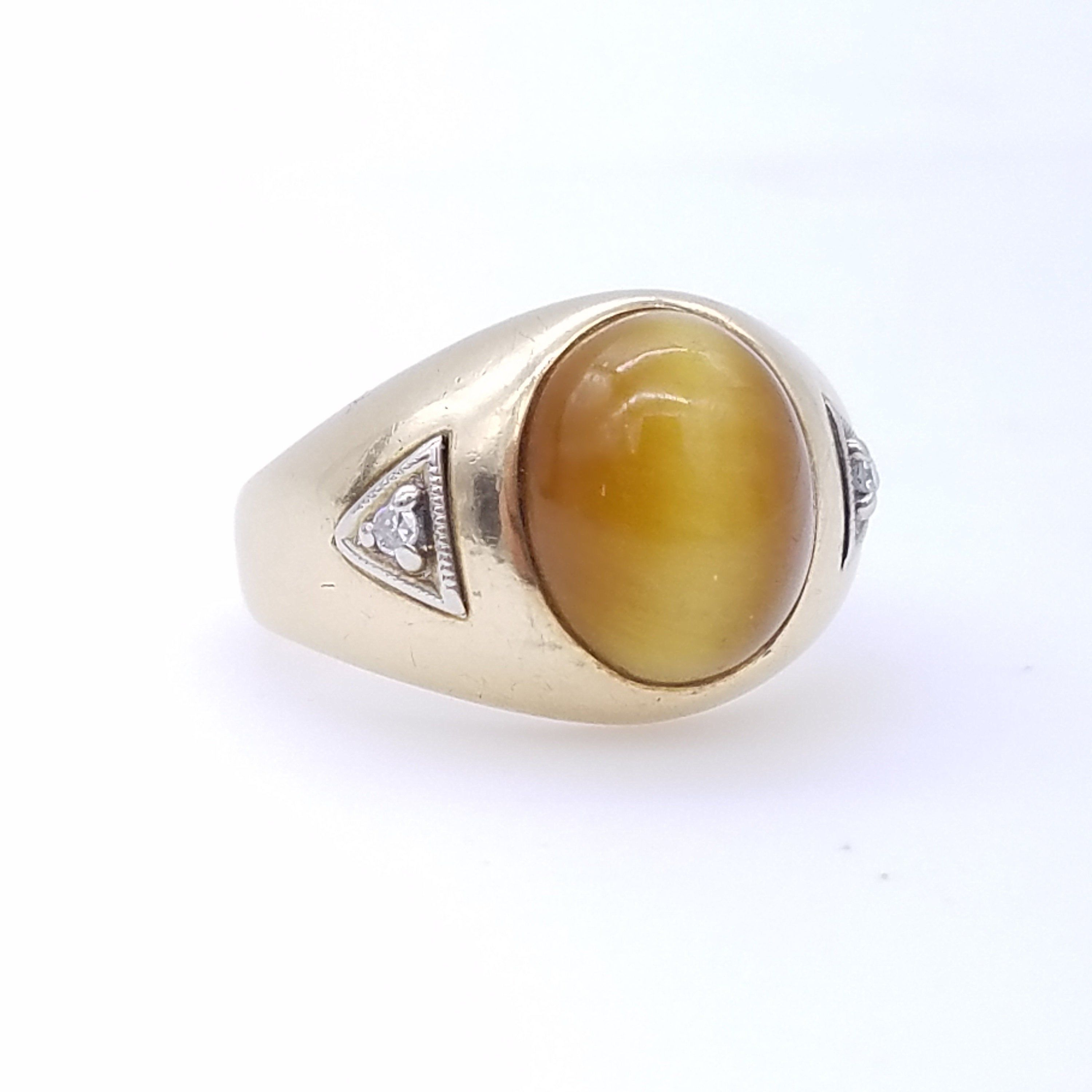 10K Gold, Tiger's Eye Cat's Eye & Diamond Estate Ring