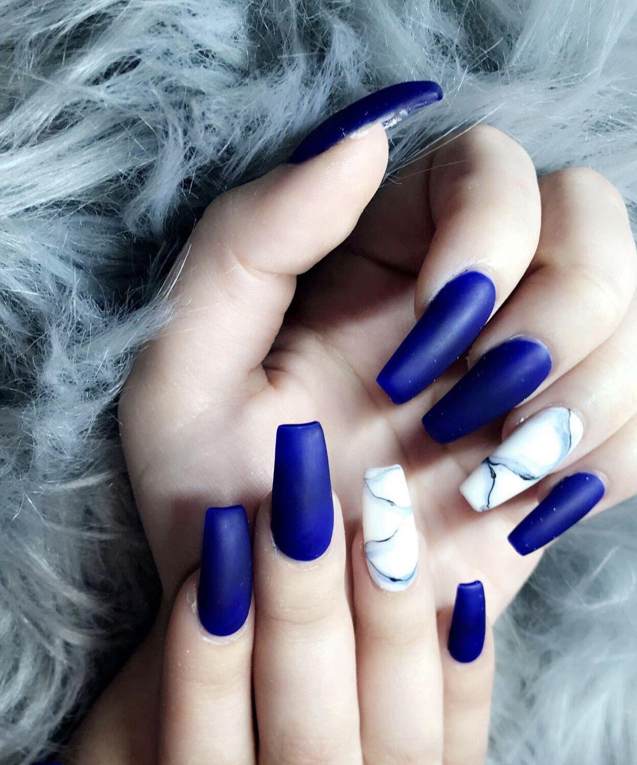 Matte royal blue marble nails! | nails | Pinterest | Marble nails ...