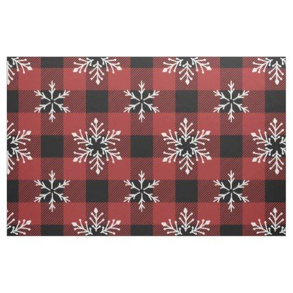 Buffalo Plaid Pattern with Winter Snowflakes Fabric - patterns
