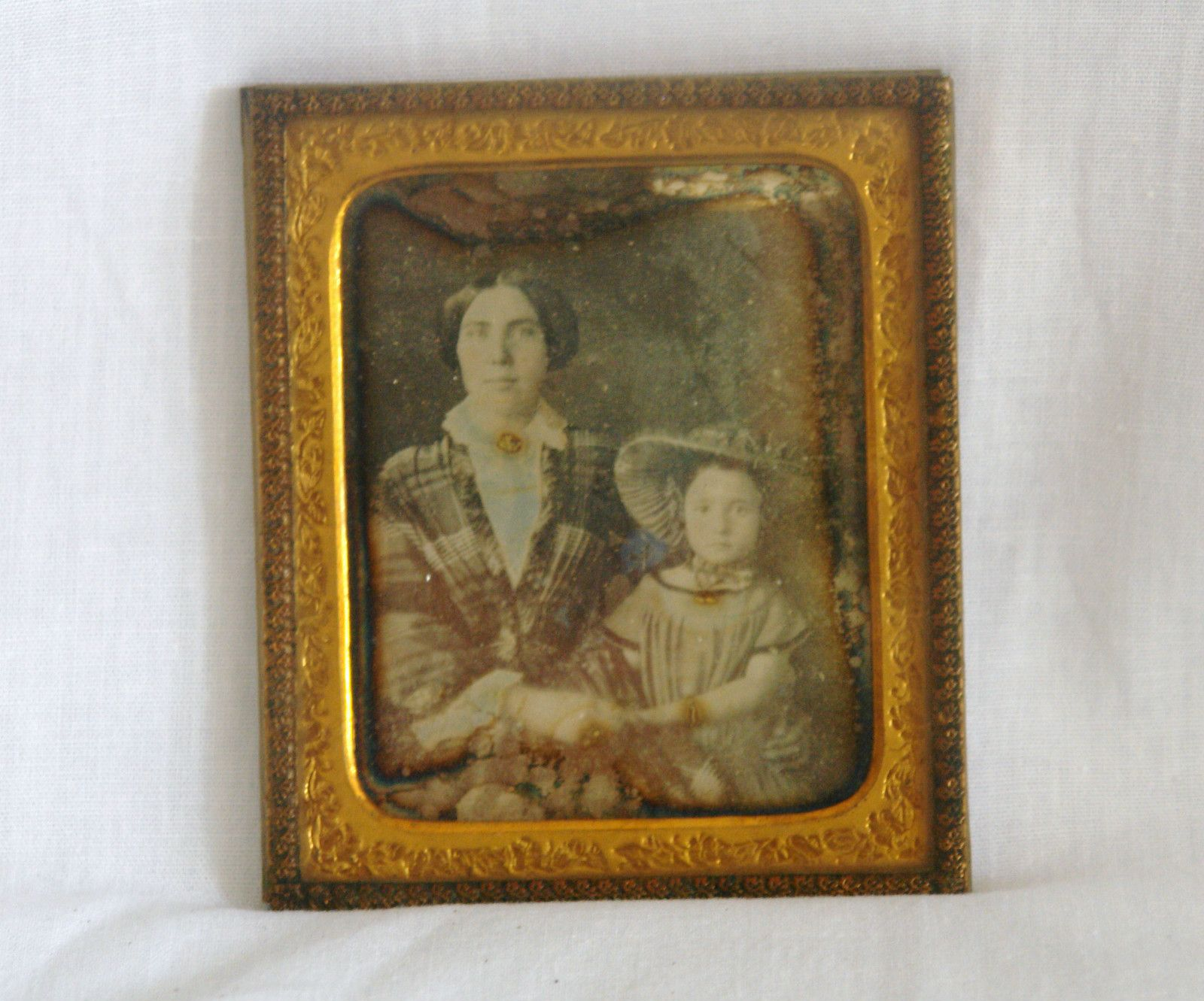 Antique Tintype Photo in Frame Lady Girl Mother Daughter | eBay