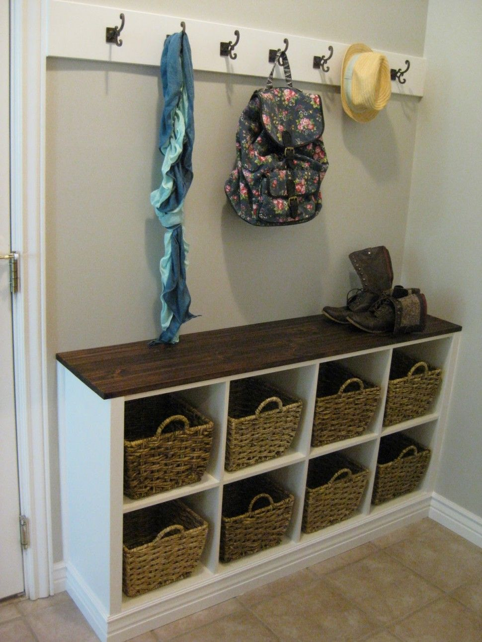 Decorations Cool Corner Bench Wicker Basket Storage With White Coat Hook Decor Ideas Coat Hooks With Storage Cheap Home Decor Home Organization Easy Home Decor
