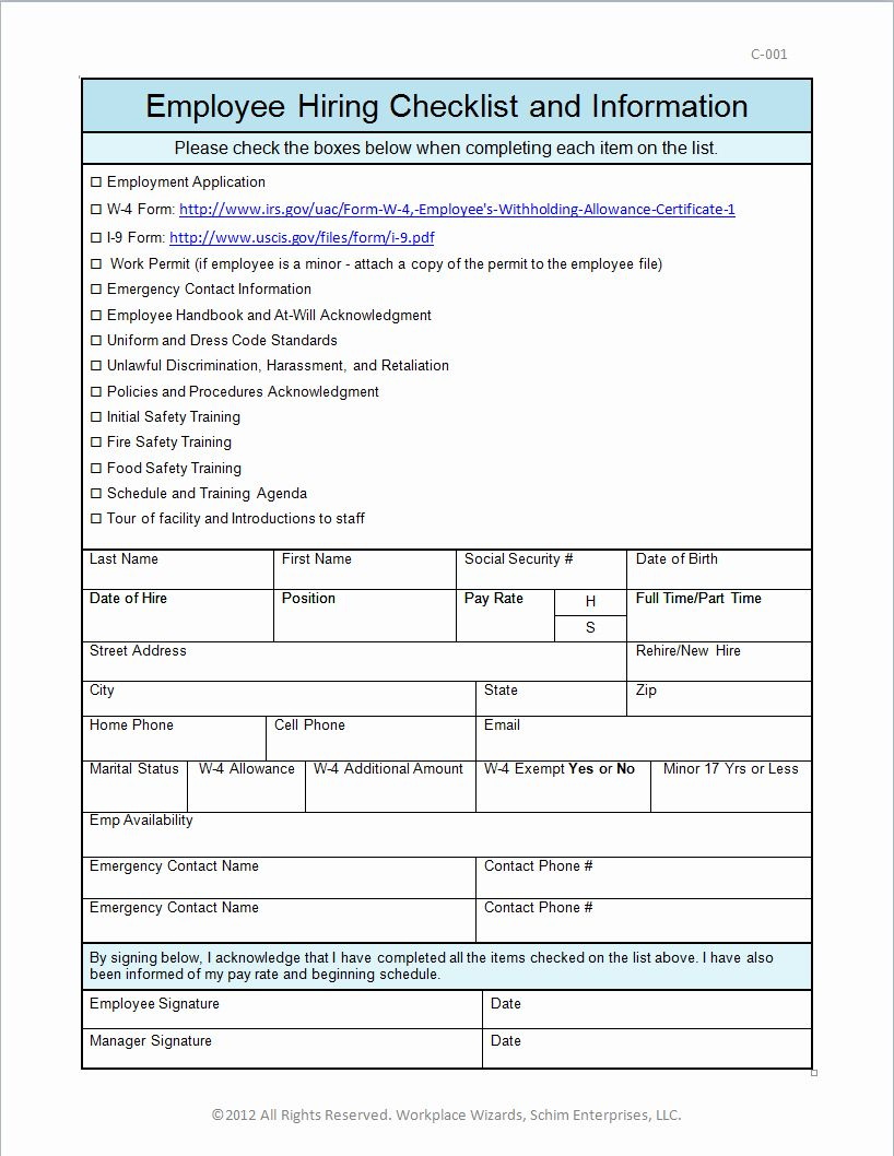 New Employee Hire form Template in 2020 Employee