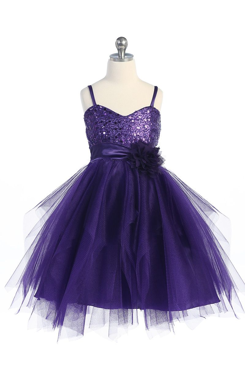 Purple Sparkly Sequined Sweethewart Bodice with Tulle Overlayed ...
