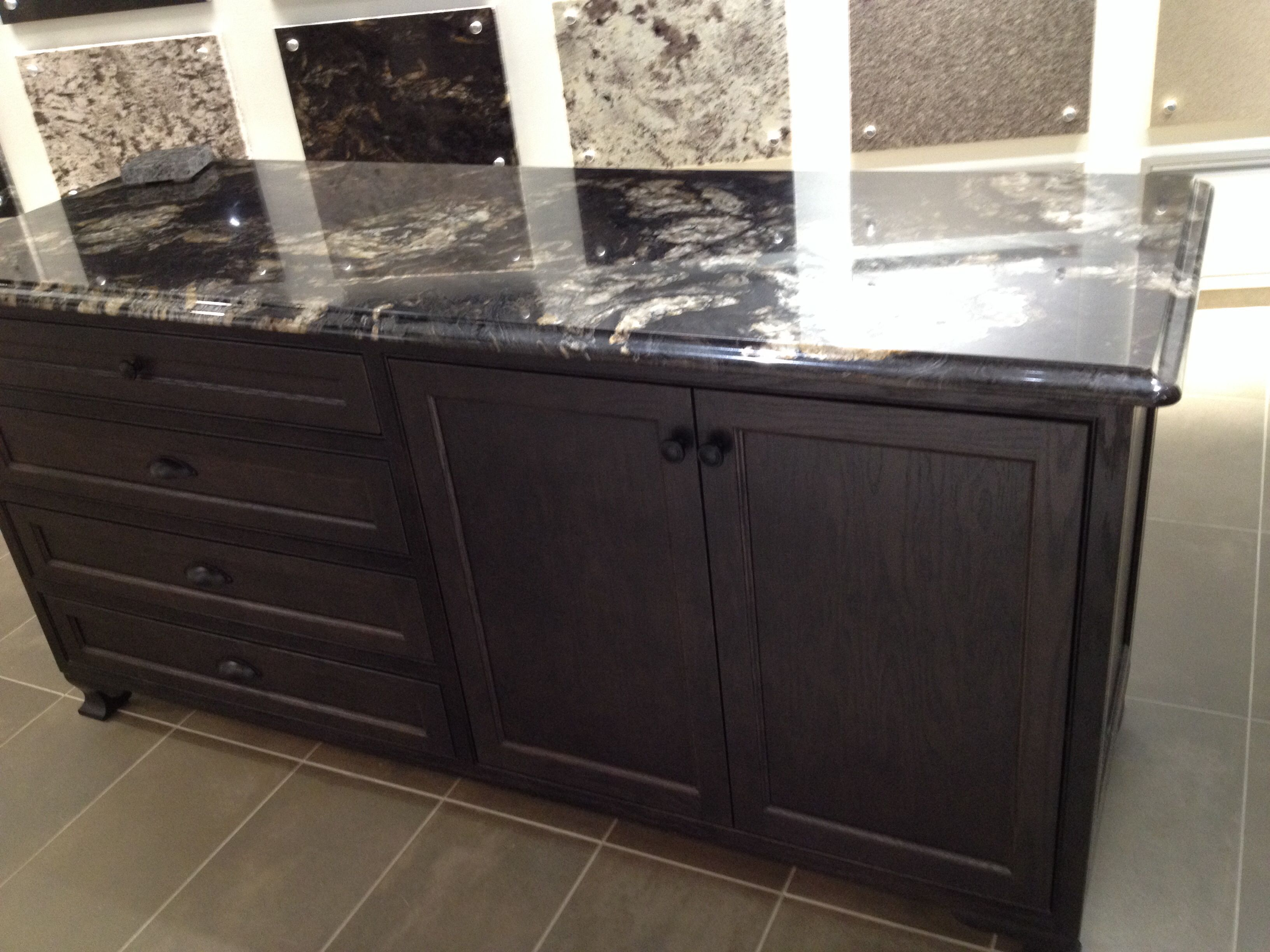 Black Titanium Granite With Dark Brown Cabinets Black