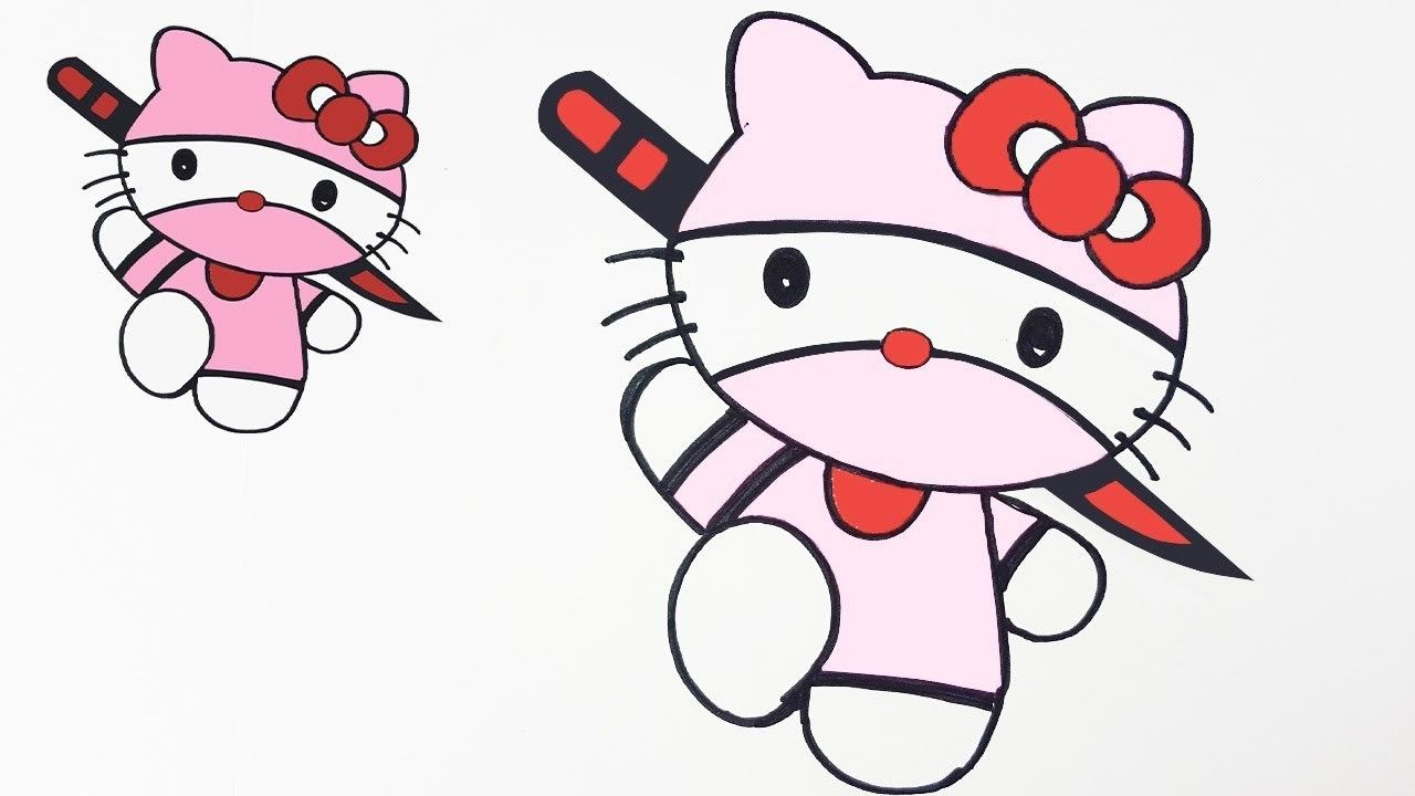 How to draw hello kitty ninja version easy step by step kids drawing hello kitty and coloring