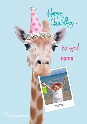 Giraffe Photo Upload Birthday Card Happy
