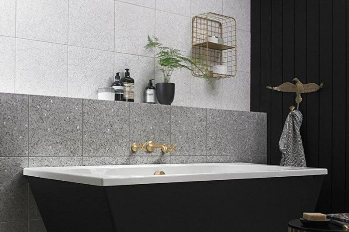 Tons of tiles Terrazzo style/look White Bathroom Wall