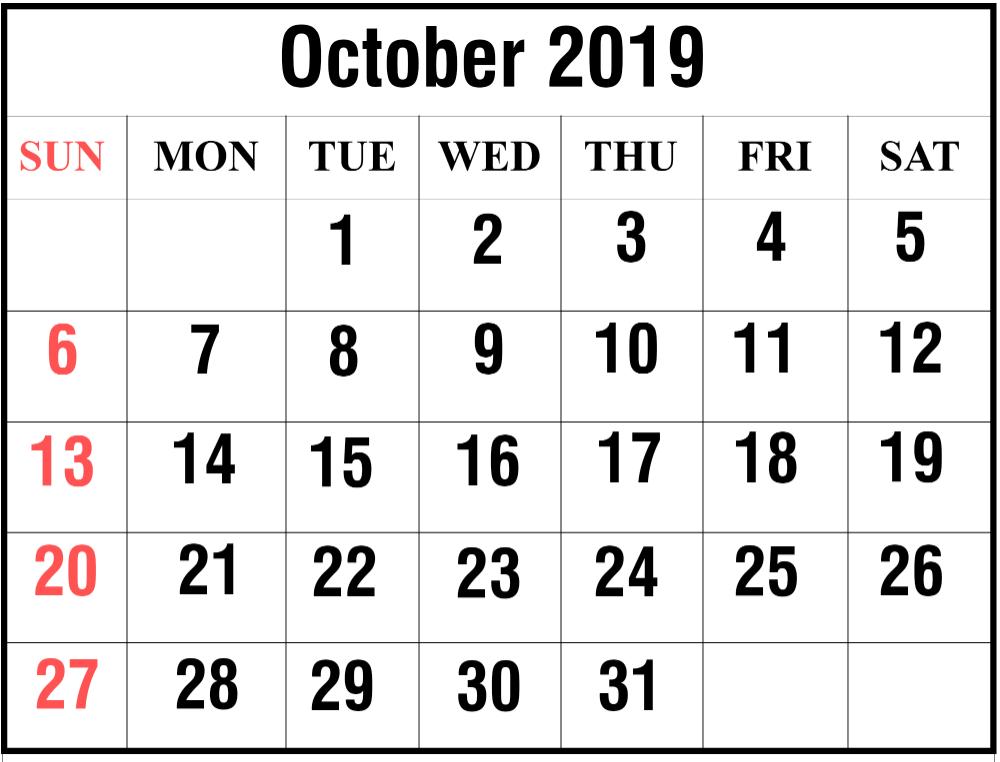 Printable October 2019 Calendar Monthly Planner 12 Month Printable Calendar Calendar Printables Calendar Template 2019 Calendar