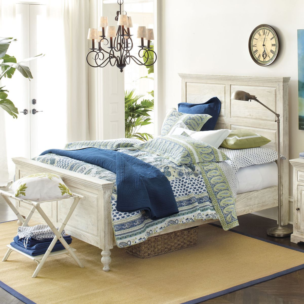 Navy Blue, White & Lime Green Bedroom | Ballard Designs | Home Sweet ...