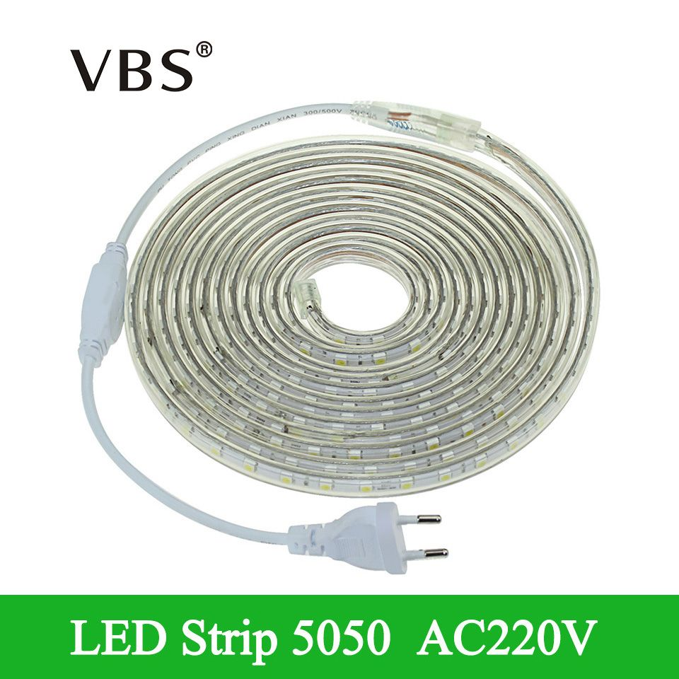 Smd 5050 220 V Led Bande Flexible Lumiere 1 M 25 M Blanc Chaud Blanc Rouge Vert Bleu Tira Led Ecl Waterproof Led Lights Led Strip Lighting Led Outdoor Lighting