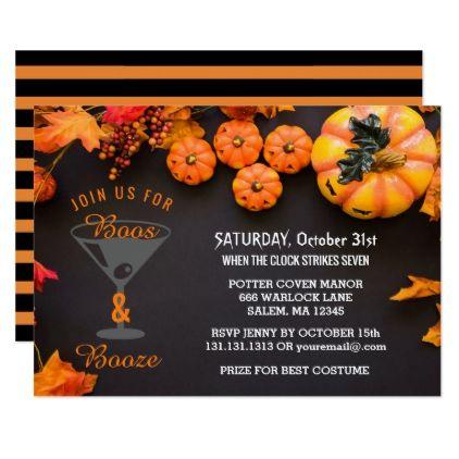 Boos And Booze Adult Halloween Party Black Orange Invitation