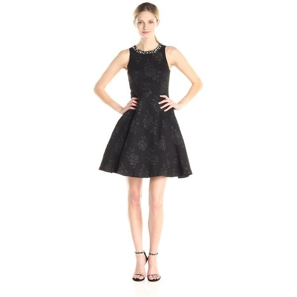 Maggy London Women's Embossed Rose Crepe Fit and Flare Dress with... (66 CAD) ❤ liked on Polyvore featuring dresses, cocktail dresses, special occasion dresses, embellished dress, fit and flare cocktail dress and evening dresses