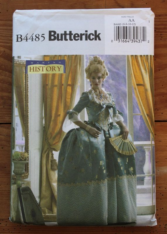 Butterick 4485 Pattern. 18th Century, Colonial, \
