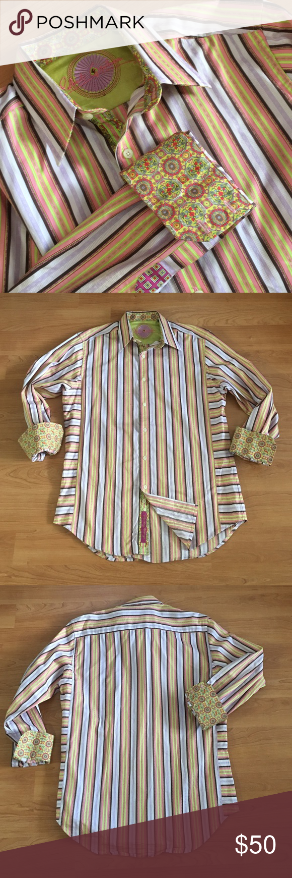 """Robert Graham flip cuff colorful stripe geometrics Great Robert Graham long sleeve shirt! Pink, green and lavender stripes. Geometric floral print on flip cuffs. Size medium. Armpit to armpit- 22.5"""" shoulder to shoulder- 19"""" neck to bottom front tail- 30.5"""". Small blemish near third button and tiny pin size hole near left shoulder. Thanks! Robert Graham Shirts Dress Shirts"""