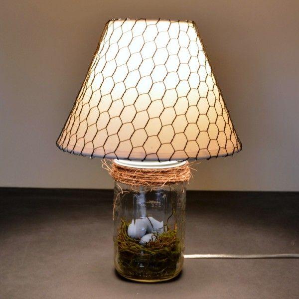 Bird Nest Mason Jar Lamp And A 100 Craft Basket Giveaway Mason Jar Lighting Rustic Spring Decor Diy Lamp