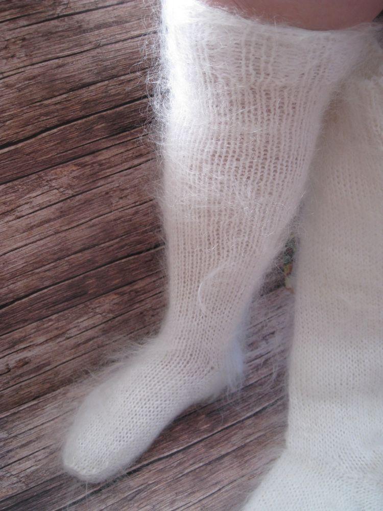 LEG WARMERS SOCKS long KNEE HIGH  natural goat down cashmere Russian craft