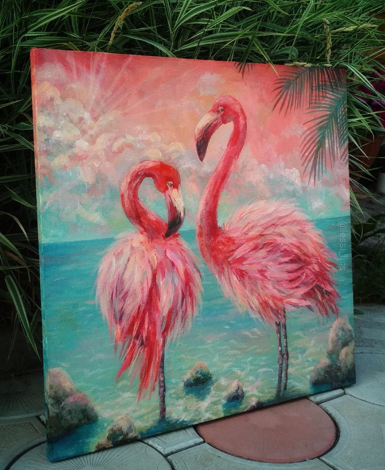 Flamingo Brush Painting Colorful Flamingo Birds Wall Decor Etsy Flamingo Painting Bird Painting Acrylic Acrylic Painting Canvas