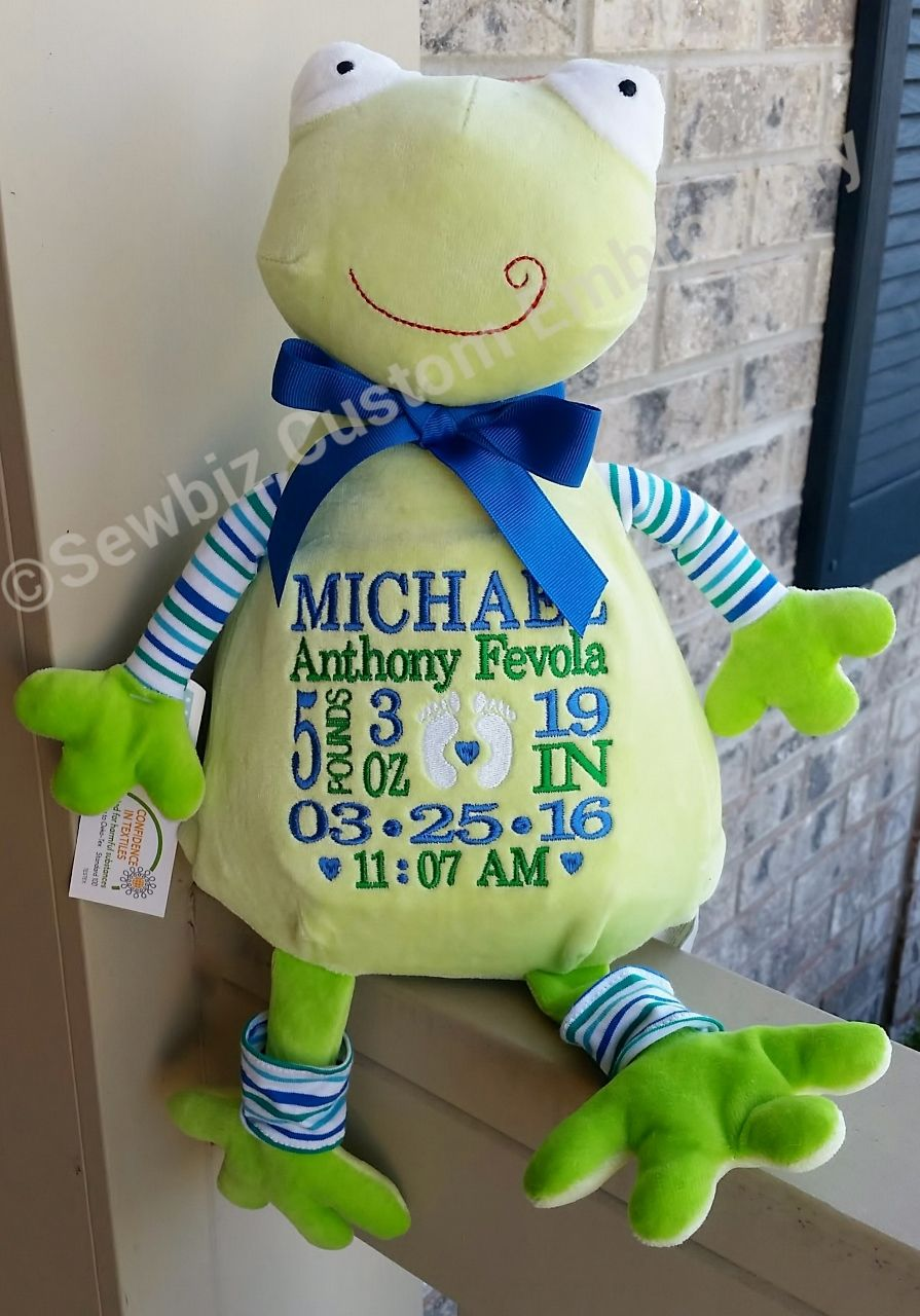 Personalized frog baby gift embroidered pastel stuffed animal personalized baby gift embroidered baby gift pastel dog stuffed animal birth announcement negle Choice Image