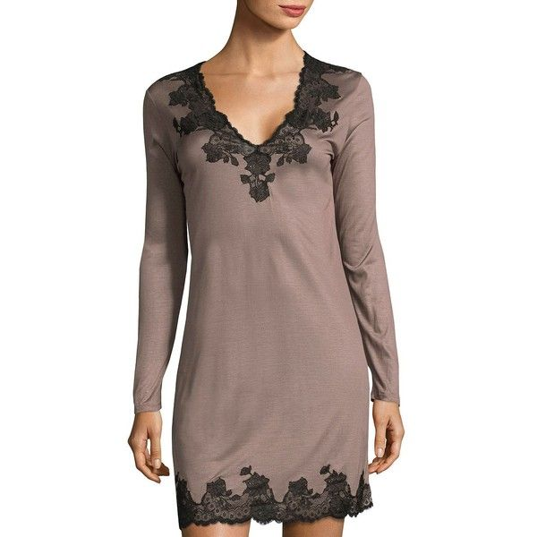 Josie Natori Lace V-Neck Sleepshirt ($295) ❤ liked on Polyvore featuring intimates, sleepwear, nightgowns, lingerie nightgown, lingerie sleepwear, long sleeve nightdress, long sleeve sleep shirt and long sleeve nightie