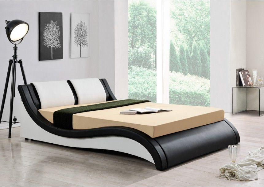 awesome lit simili cuir blanc 5 lit 140x190 simili cuir noir et blanc dual envie de meubles. Black Bedroom Furniture Sets. Home Design Ideas