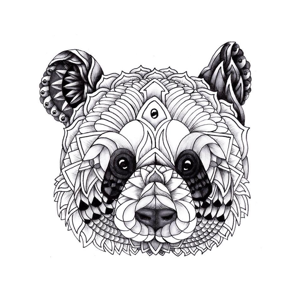 Mandala and decorative drawings pinterest - Coloriage panda roux mandala ...