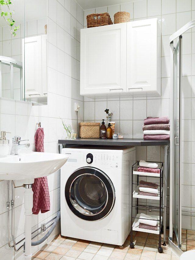 Kleines Bad Gestalten Waschmaschine Stauraum Ideen