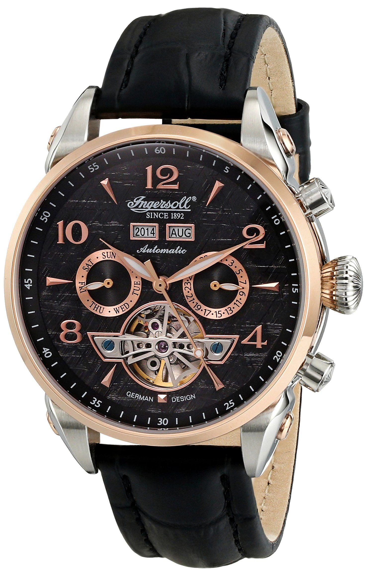 "Ingersoll Men's IN4514RBK ""San Bernardino"" Stainless Steel Automatic Watch  with Black ..."