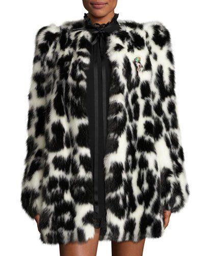 0b2df16b5774 TGDUQ Marc Jacobs Leopard-Print Faux-Fur Coat, Black | Things to ...