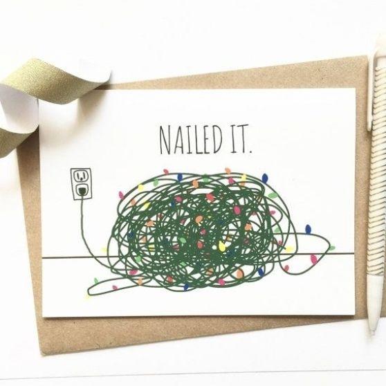 Funny Christmas Card - Tangled Christmas Lights -