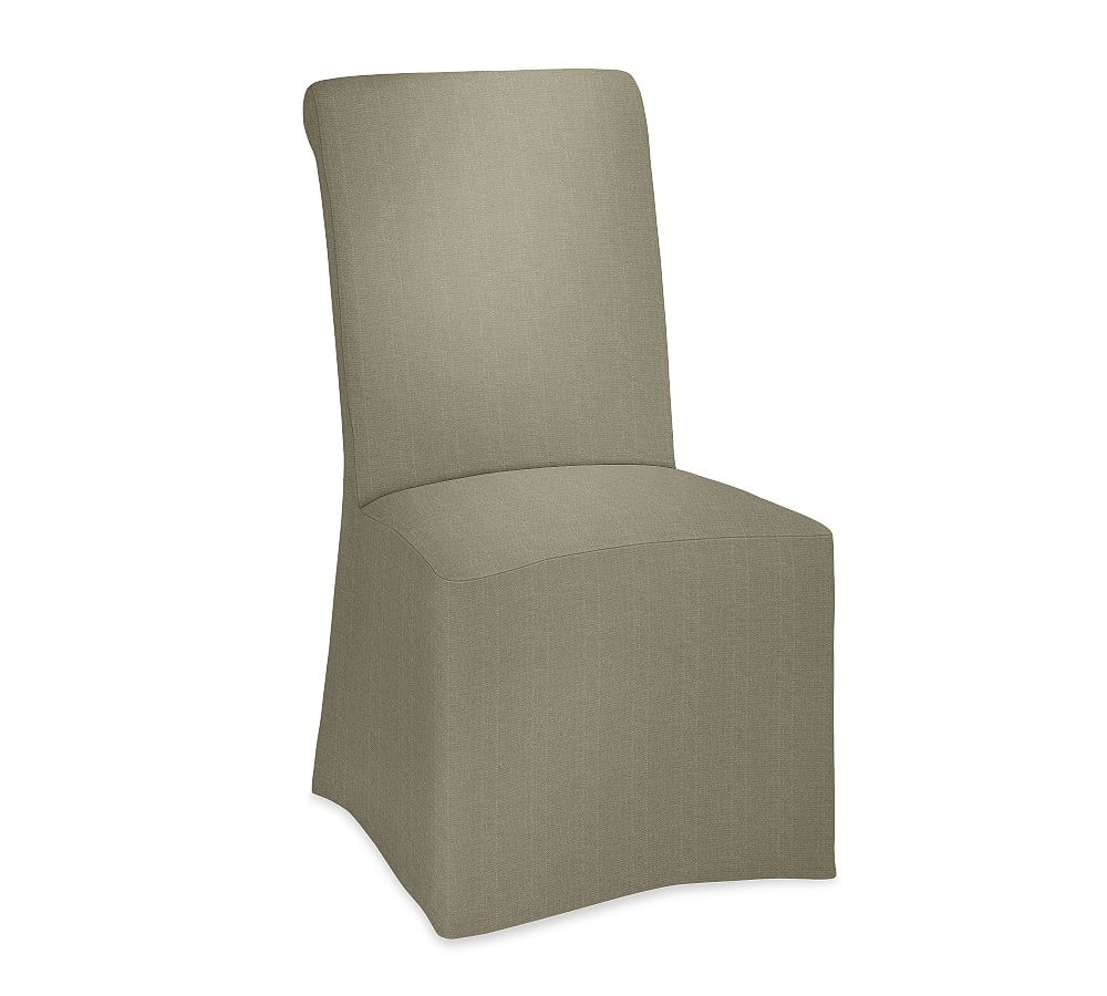 Pb Comfort Dining Roll Arm Long Slipcovered Side Chair