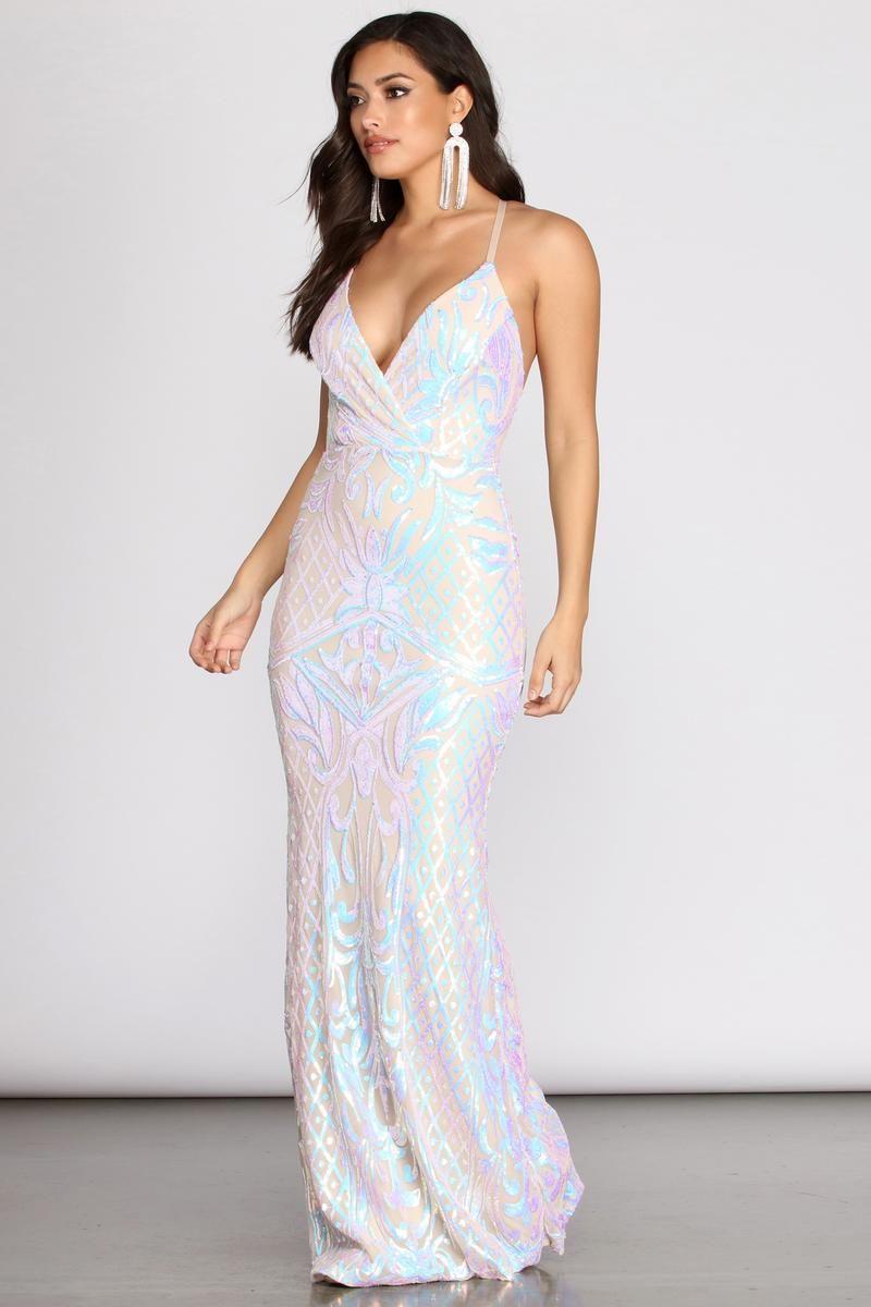 Deonne iridescent sequin cross back dress windsor in