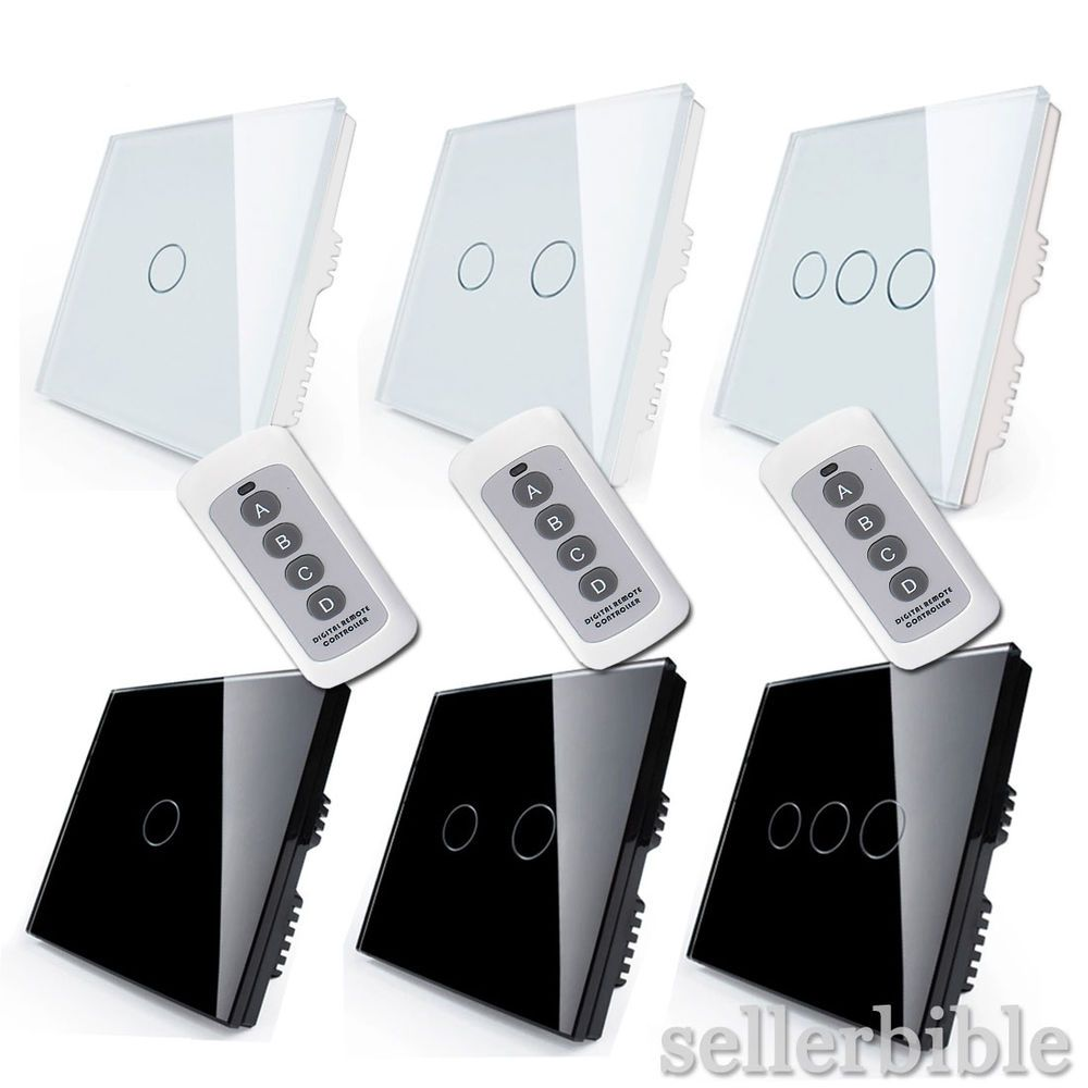 1 Way 2 3 Gang Crystal Glass Remote Panel Touch Led Light Switches Switch Controller