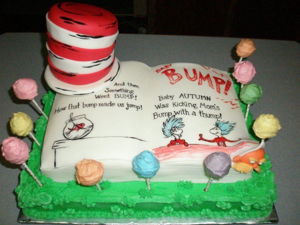 Dr Suess Theme Cake For A Baby Shower Hand Painted Those Letters