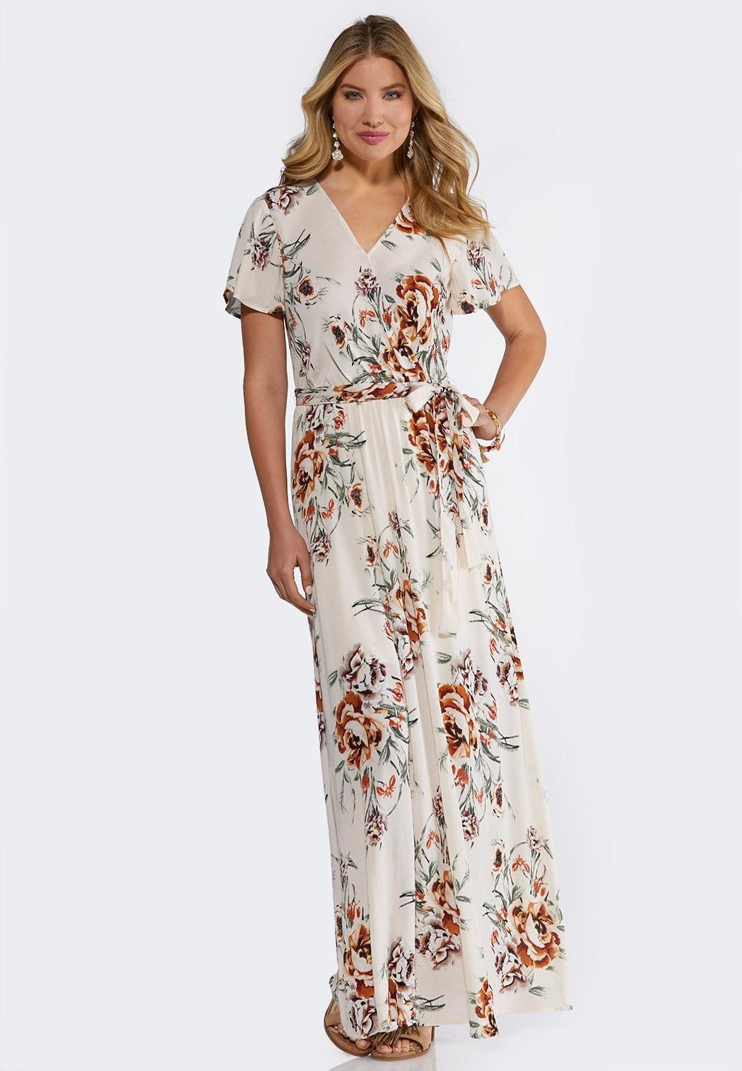 Plus Size Ivory Floral Maxi Dress Dresses Cato Fashions ...