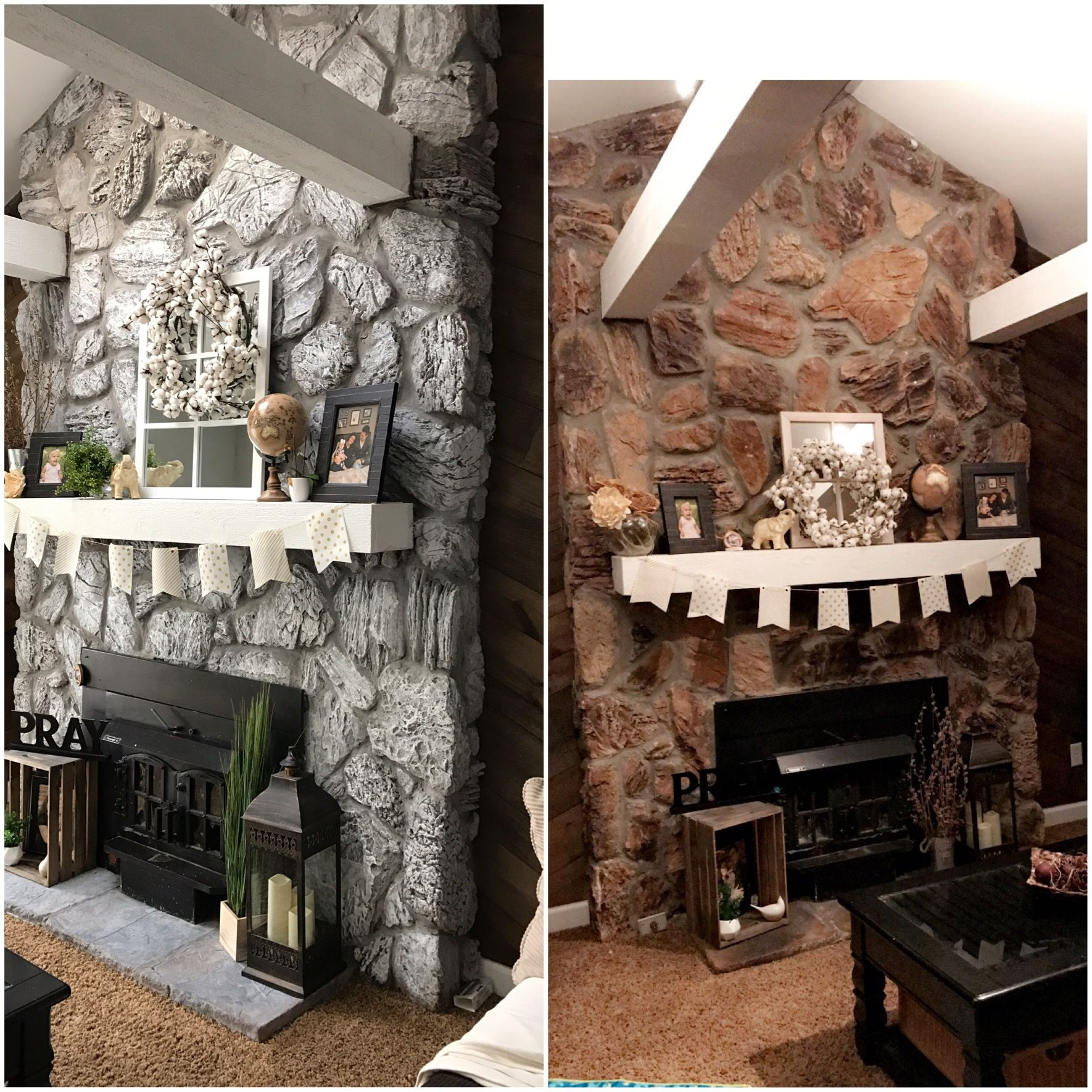 Stone Fireplace Before And After Whitewash With Chalk Paint