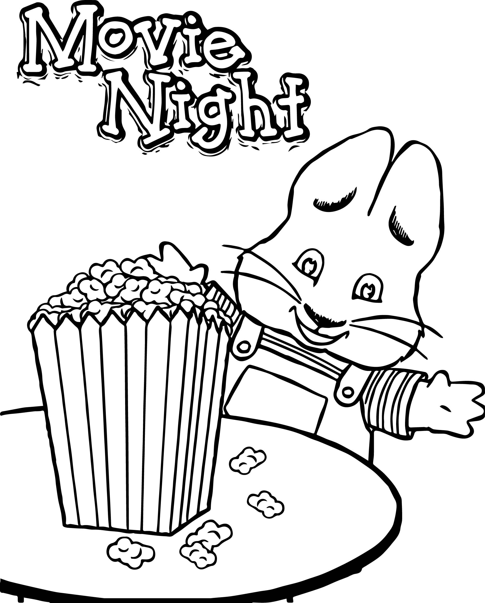 Cool Max Ruby Movie Night Eat Popcorn Max And Ruby Coloring Page