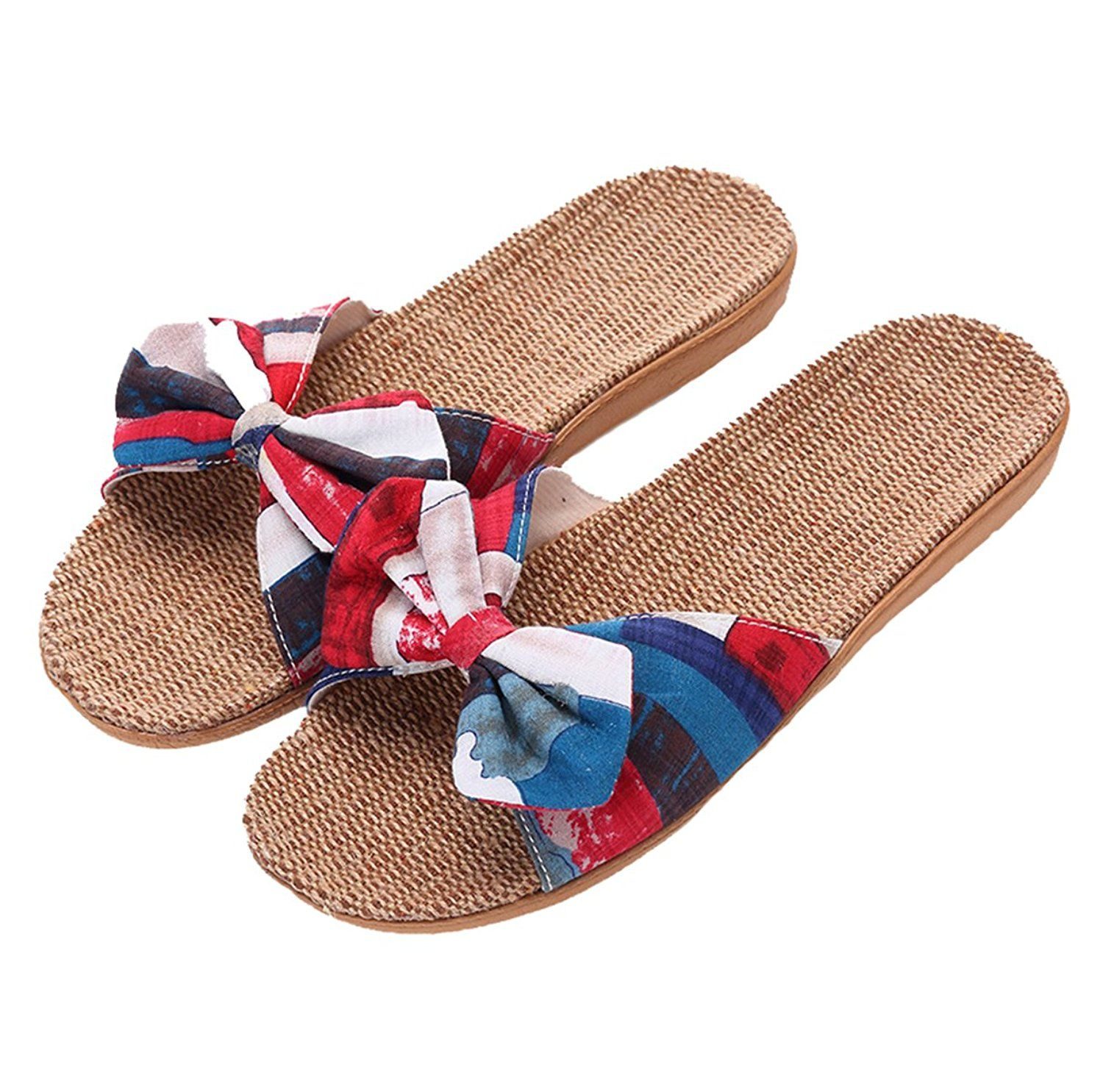 Xsby Womens Cozy Indoor Cotton Flax Home Slippers Non-Slip