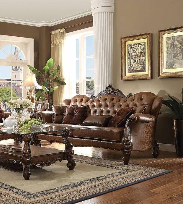 Find Cheap Furniture Online: Two-Tone Light Brown Cherry Oak Living Room Set 5Pcs Acme