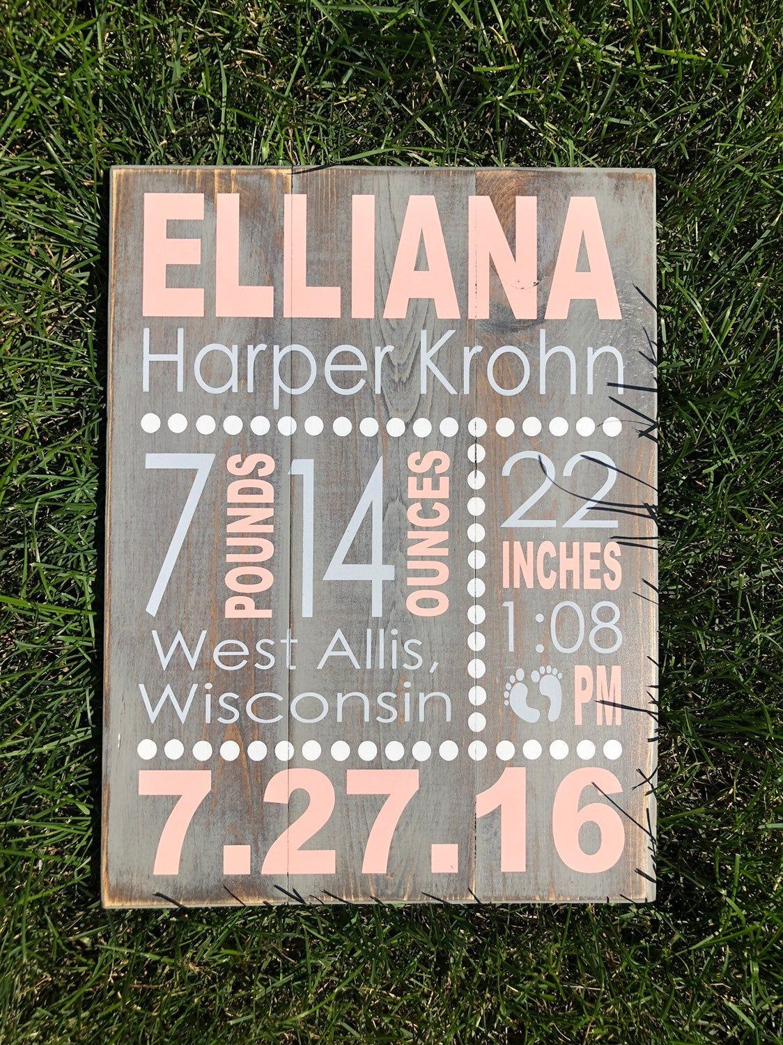 Birth Stats Wood Sign, Birth Announcement Sign, Ba