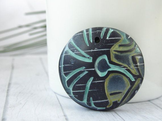 Polymer Clay Chunky Focal Pendant Component by LOVObeads