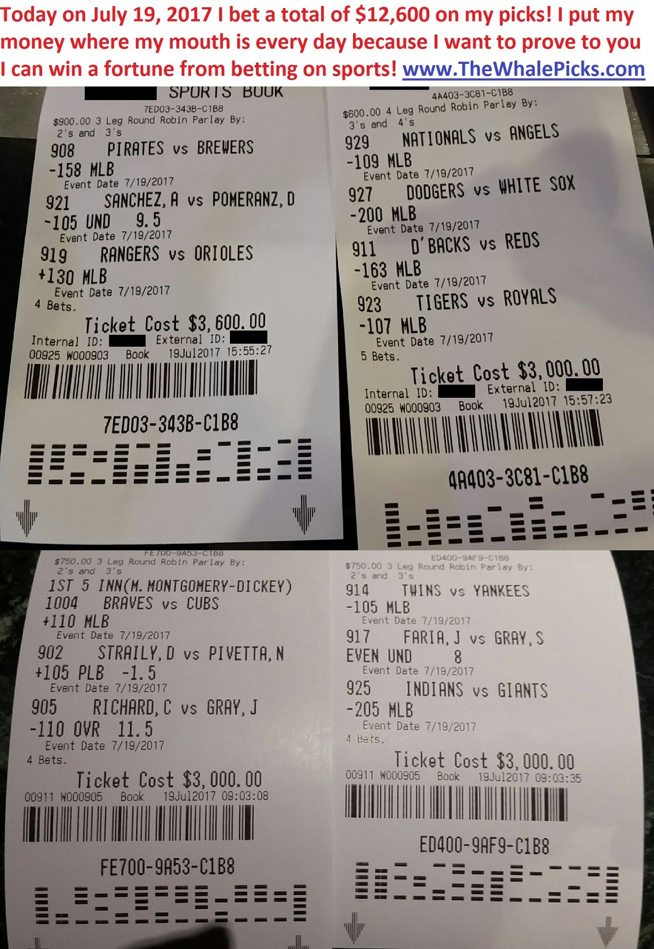 betting ticket of the day