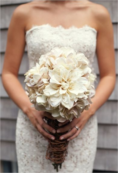 Bouquets Greige Hydrangea Mums Rustic White Lace Sheath Strapless