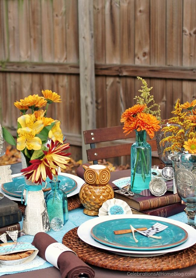 Fall Eclectic Table Setting Ideas Thanksgiving table